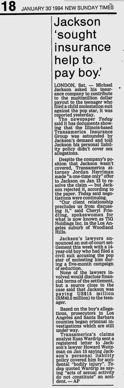 January 30 1994 article explaining that Jackson sought insurance to pay settlement but was rebuffed by the carrier.