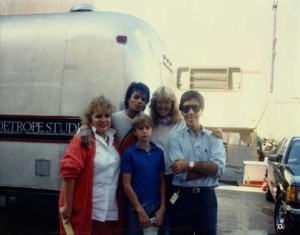 Marion and Jonathan Spence, and an unidentified couple with Michael on the set of Captain EO.